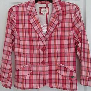 American Eagle Pink plaid blazer